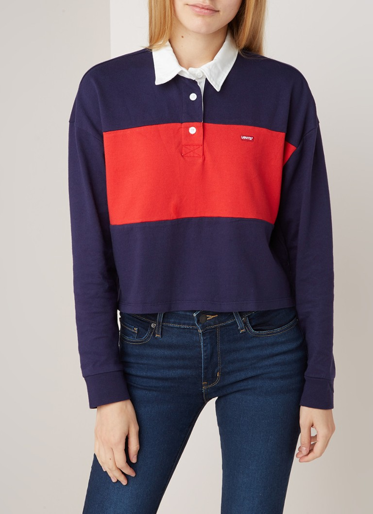 Levi's - Jordyn cropped polo met colour blocking - Donkerblauw