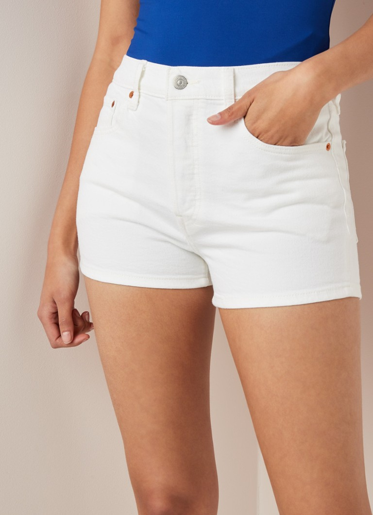 Levi's - Levi's 501 high waist denim shorts met stretch - Wit