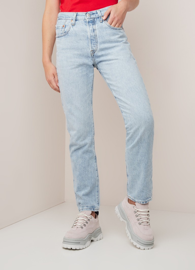 Levi's - Levi's Montgomery high waist straight fit cropped jeans - Lichtblauw