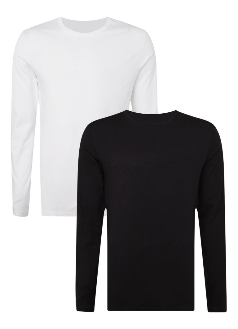 Levi's - Slim fit longsleeve met ronde hals in 2-pack - Multicolor