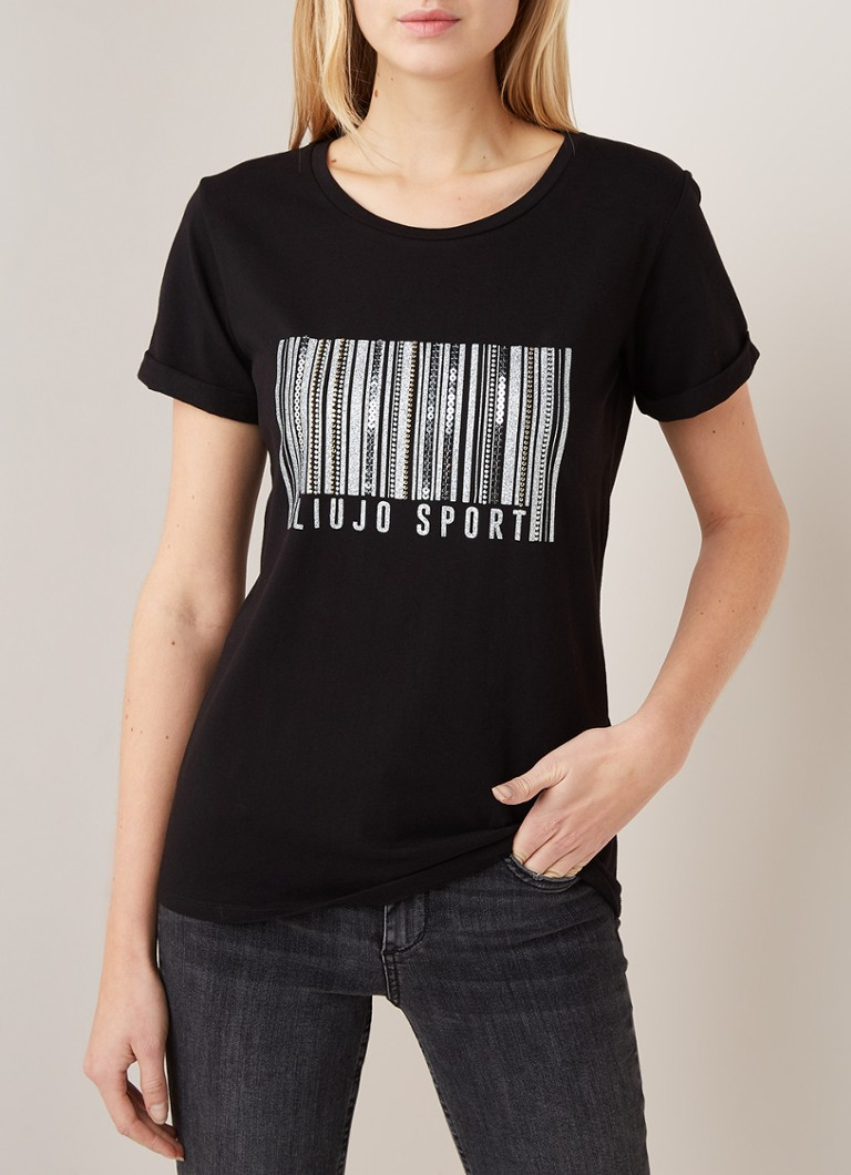 Liu Jo - T-shirt met frontprint en strass-applicatie - Zwart