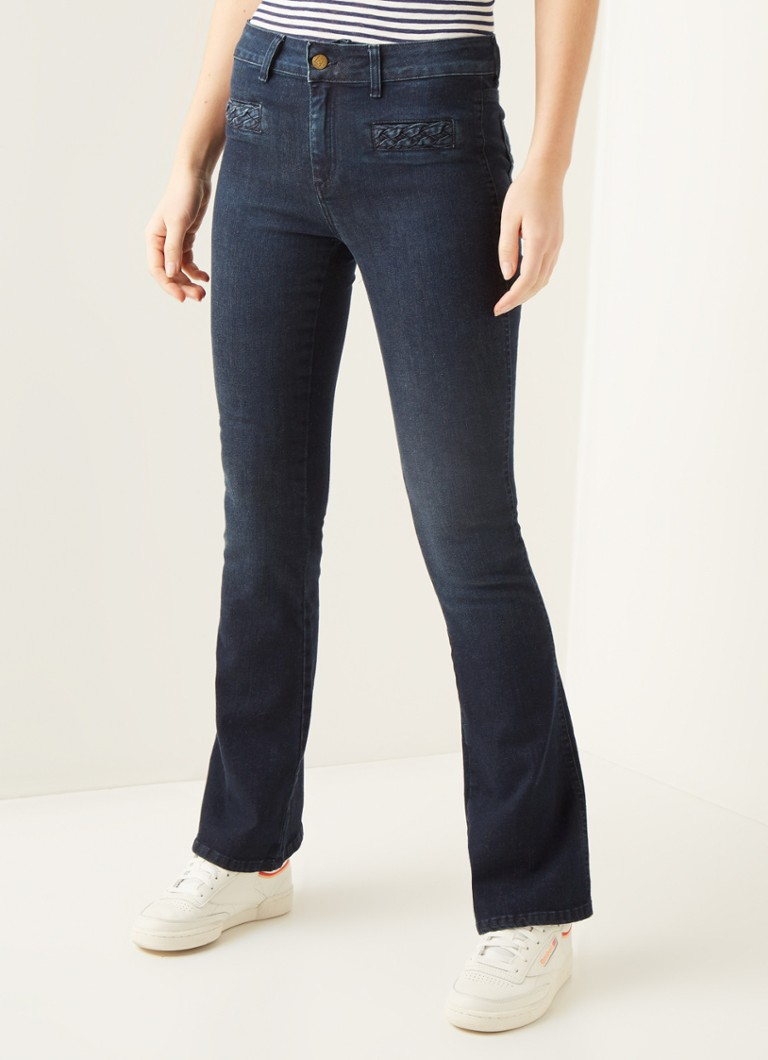 Lois - Marconi mid waist flared fit jeans met donkere wassing - Indigo