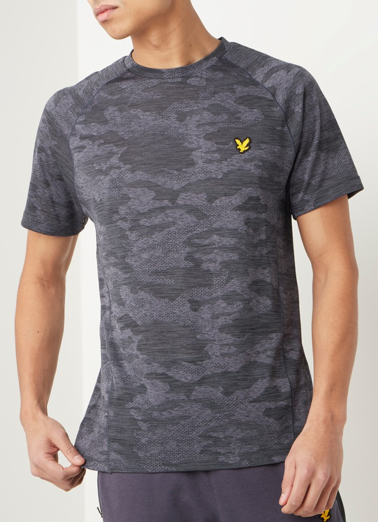 Lyle & Scott - Camo trainings T-shirt met ingeweven structuur - Antraciet