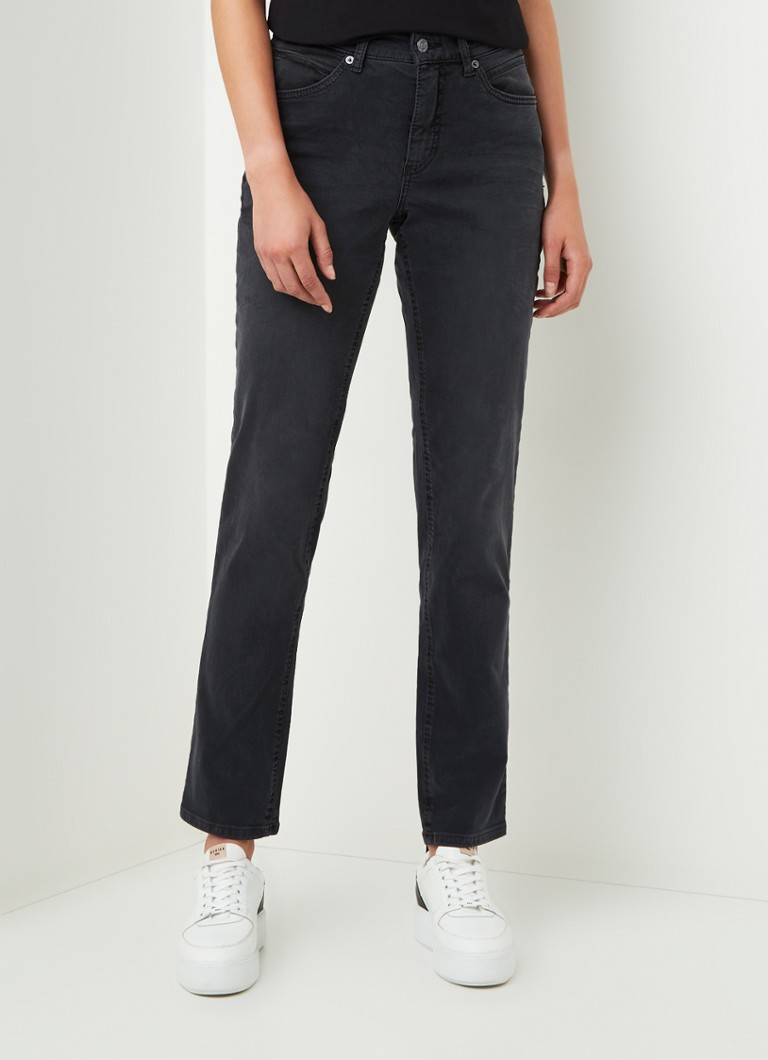 MAC - Melanie midwaist straight fit jeans met stretch - Zwart