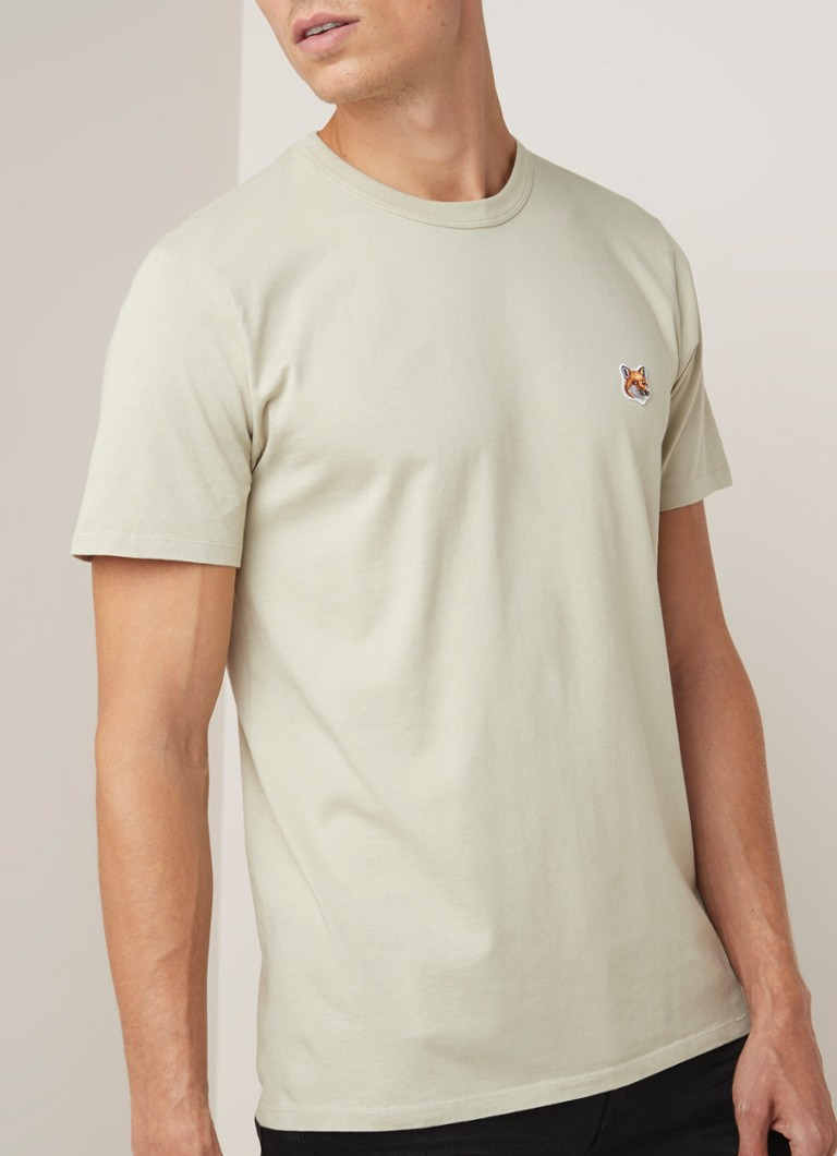 Maison Kitsuné - Fox Head T-shirt met patch - Beige