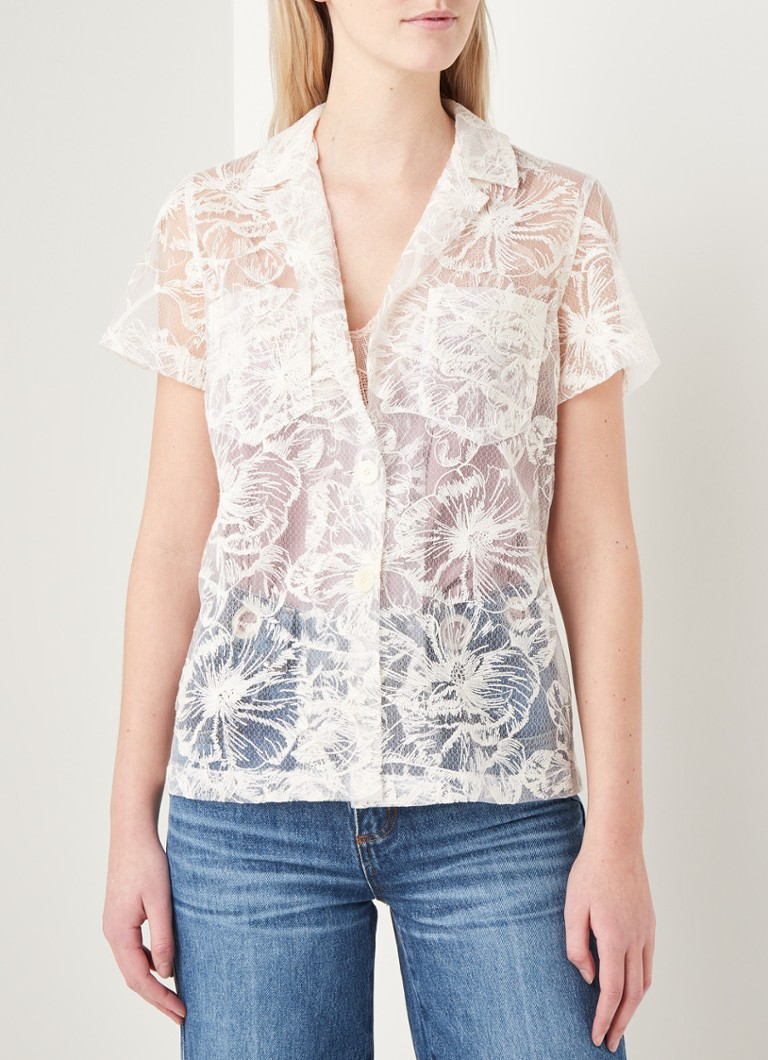 Maje - Ciflower semi-transparante blouse met borduring - Gebroken wit