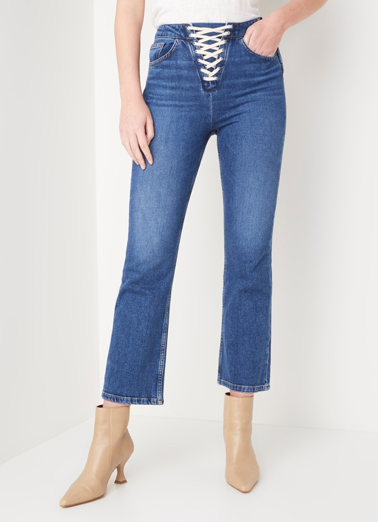 Maje - Paper high waist flared fit jeans met rijgdetail - Indigo