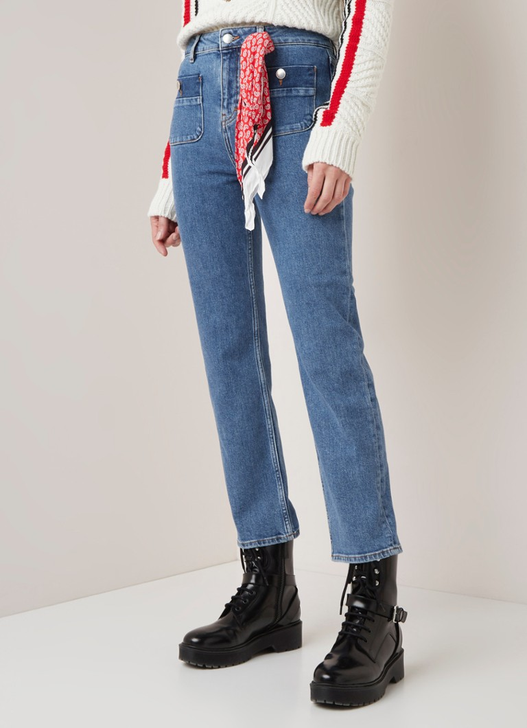 Maje - Plaisir high waist straight fit cropped jeans  - Indigo