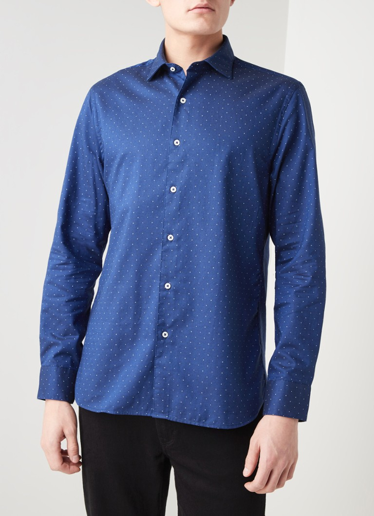 MANGO - Dotty slim fit overhemd met stippendessin - Royalblauw