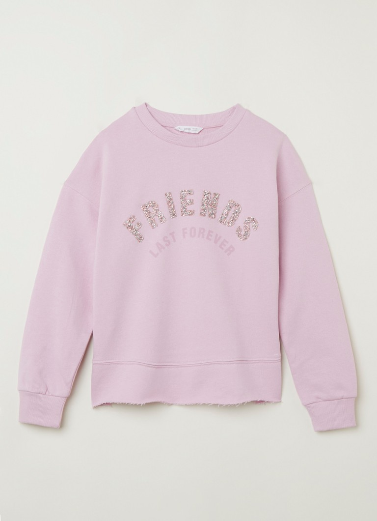 MANGO - Friends sweater met print en strass-decoratie - Lichtpaars