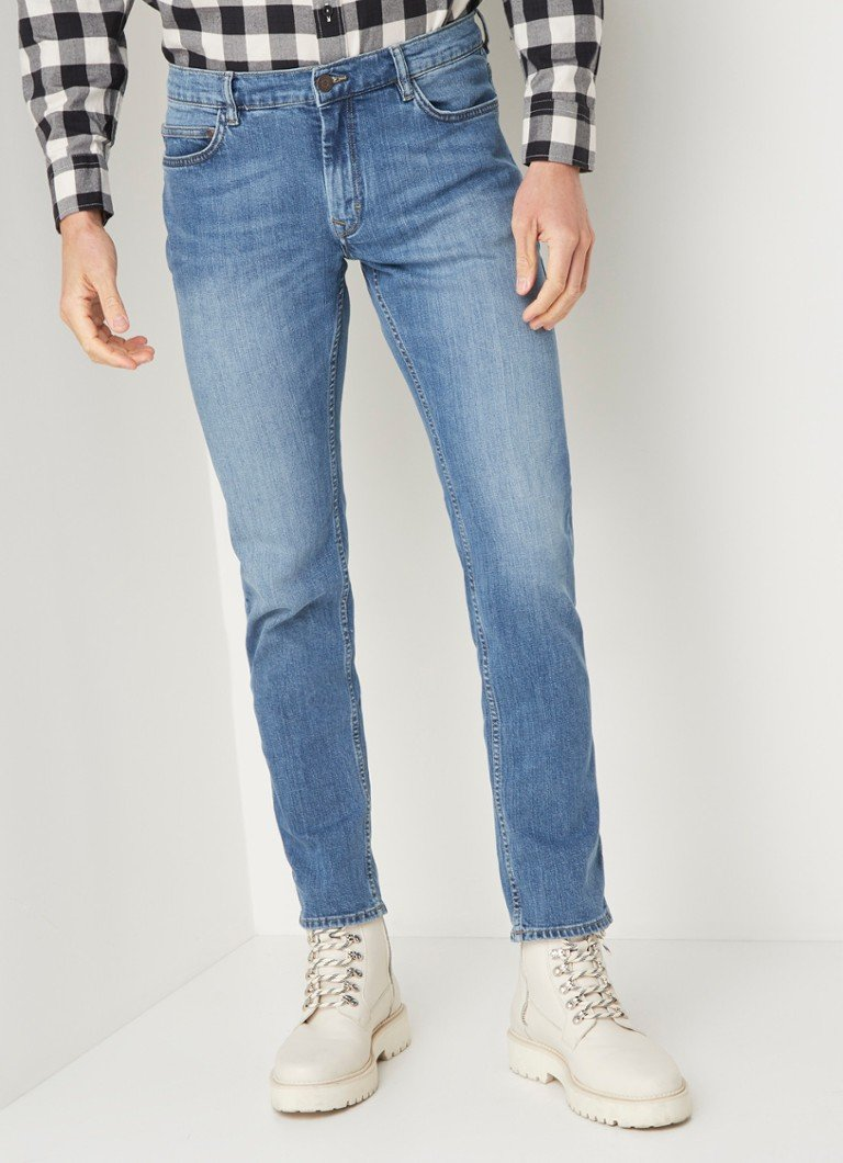 MANGO - Jan slim fit jeans met medium wassing - Indigo