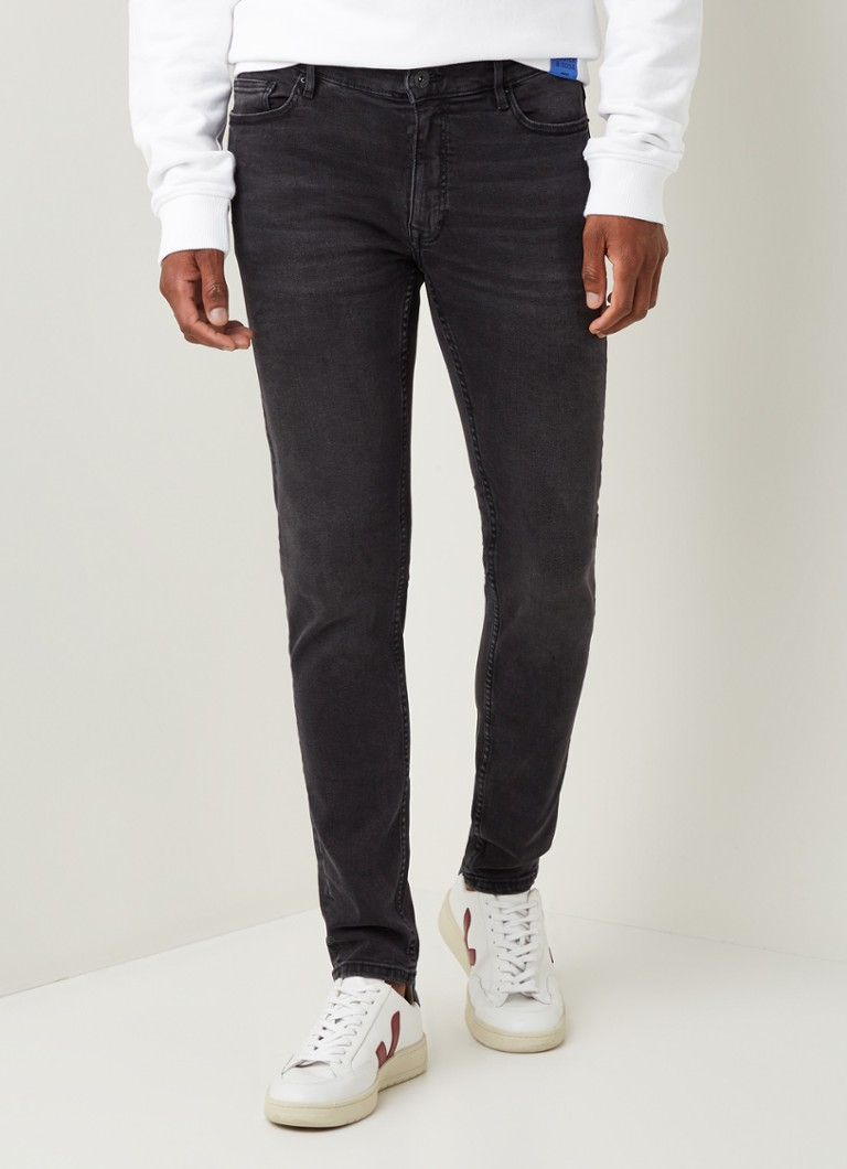 MANGO - Jude skinny fit jeans met stretch - Donkergrijs