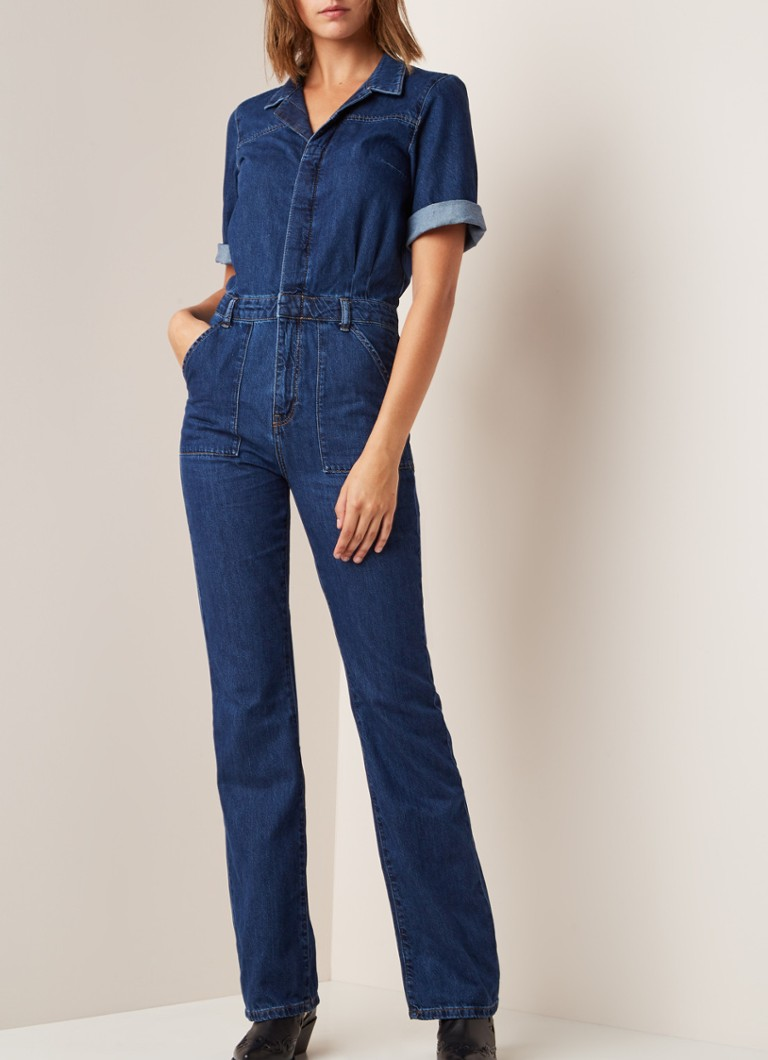 MANGO - Julia straight fit jumpsuit van denim - Indigo