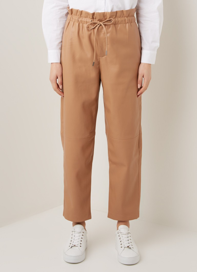 MANGO - Luck high waist straight fit copped broek van imitatieleer - Lichtbruin