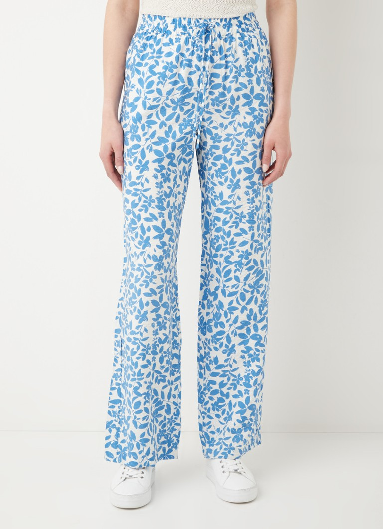 MANGO - Mery high waist straight fit pantalon met bloemenprint - Lichtblauw