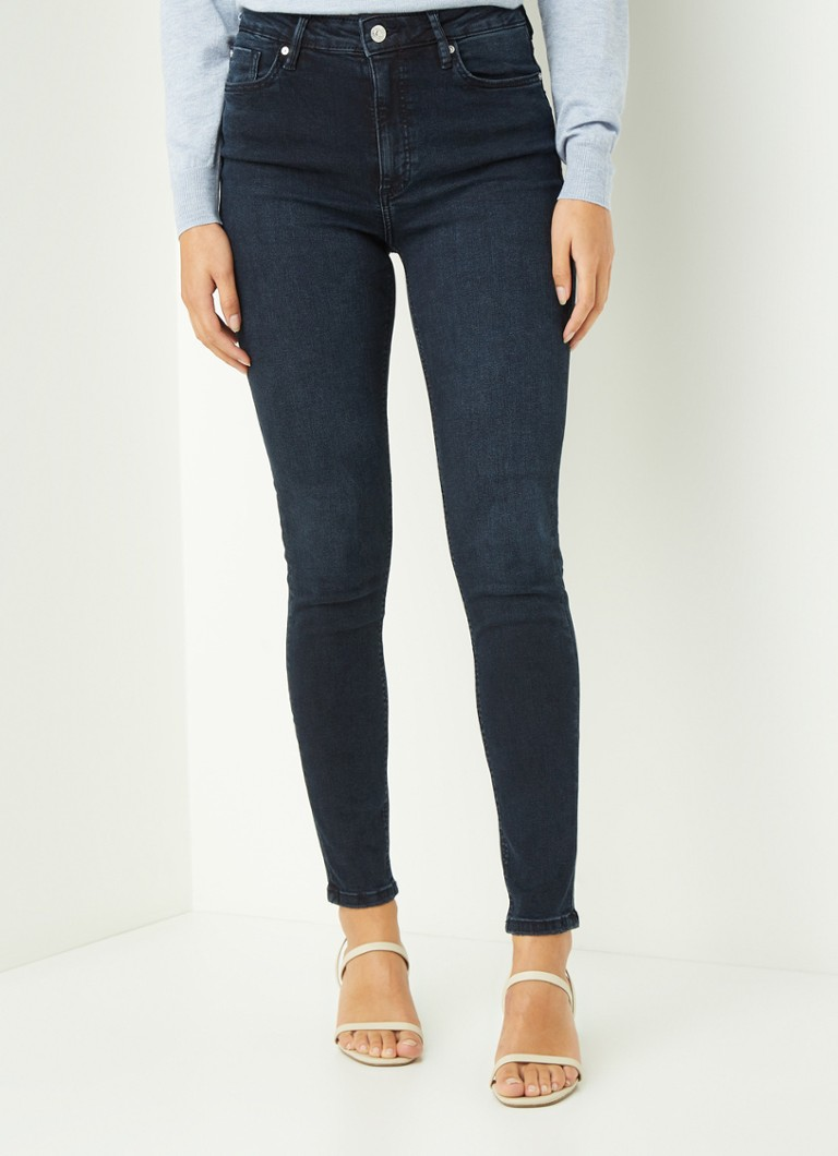 MANGO - Noa high waist skinny fit jeans met donkere wassing - Indigo