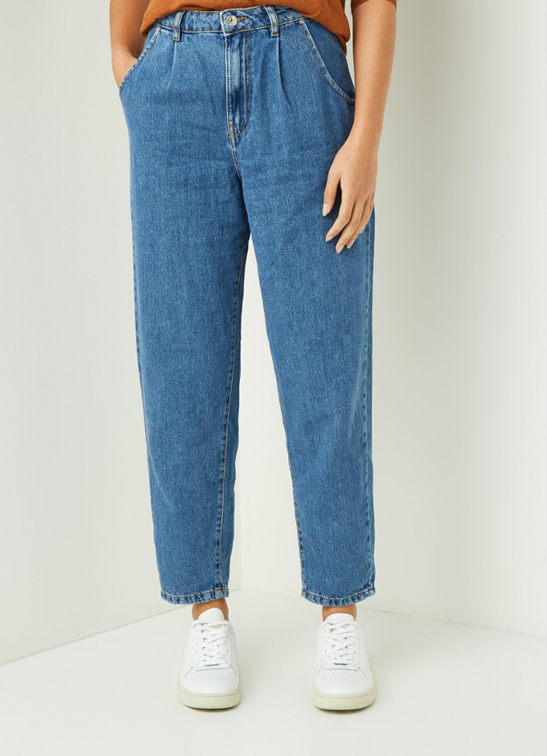 MANGO - Regina high waist tapered fit cropped jeans - Indigo
