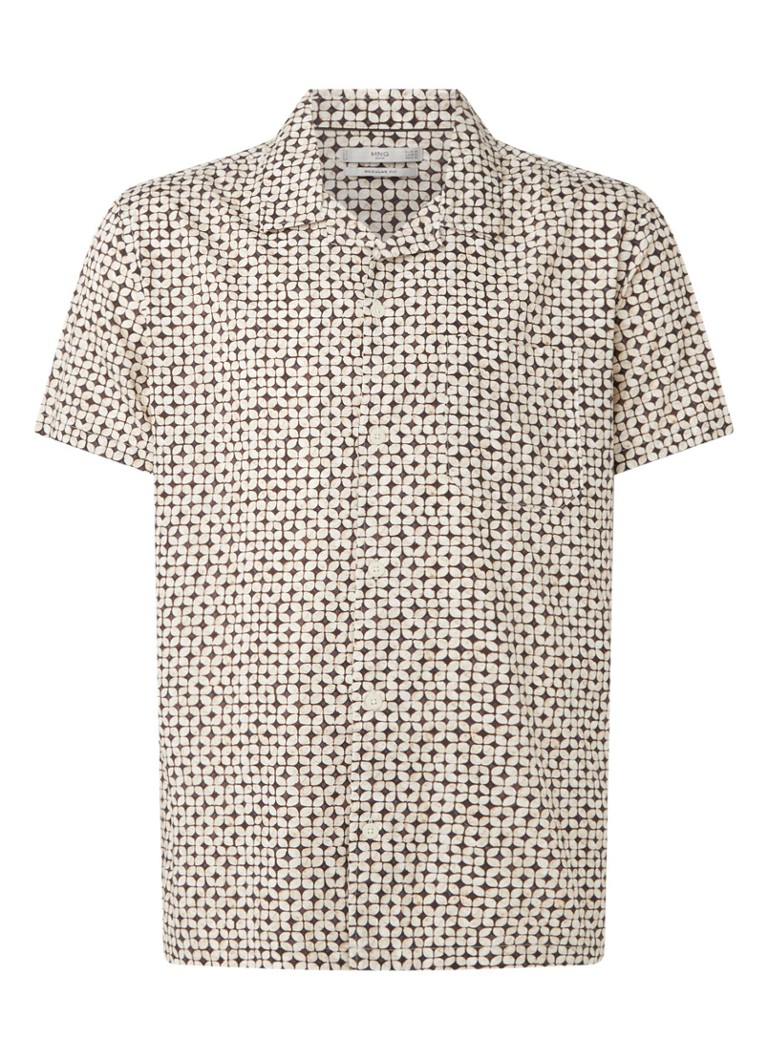 MANGO - Road regular fit overhemd met print - Beige