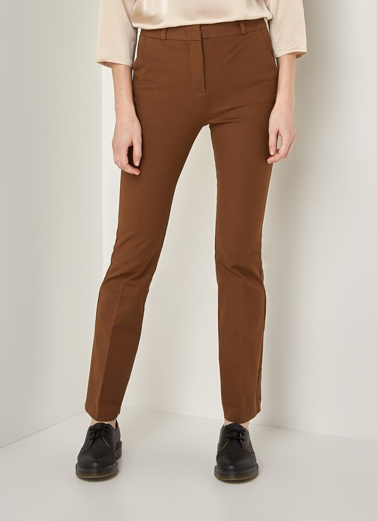 MANGO - Samantha high waist flared fit pantalon - Donkerbruin