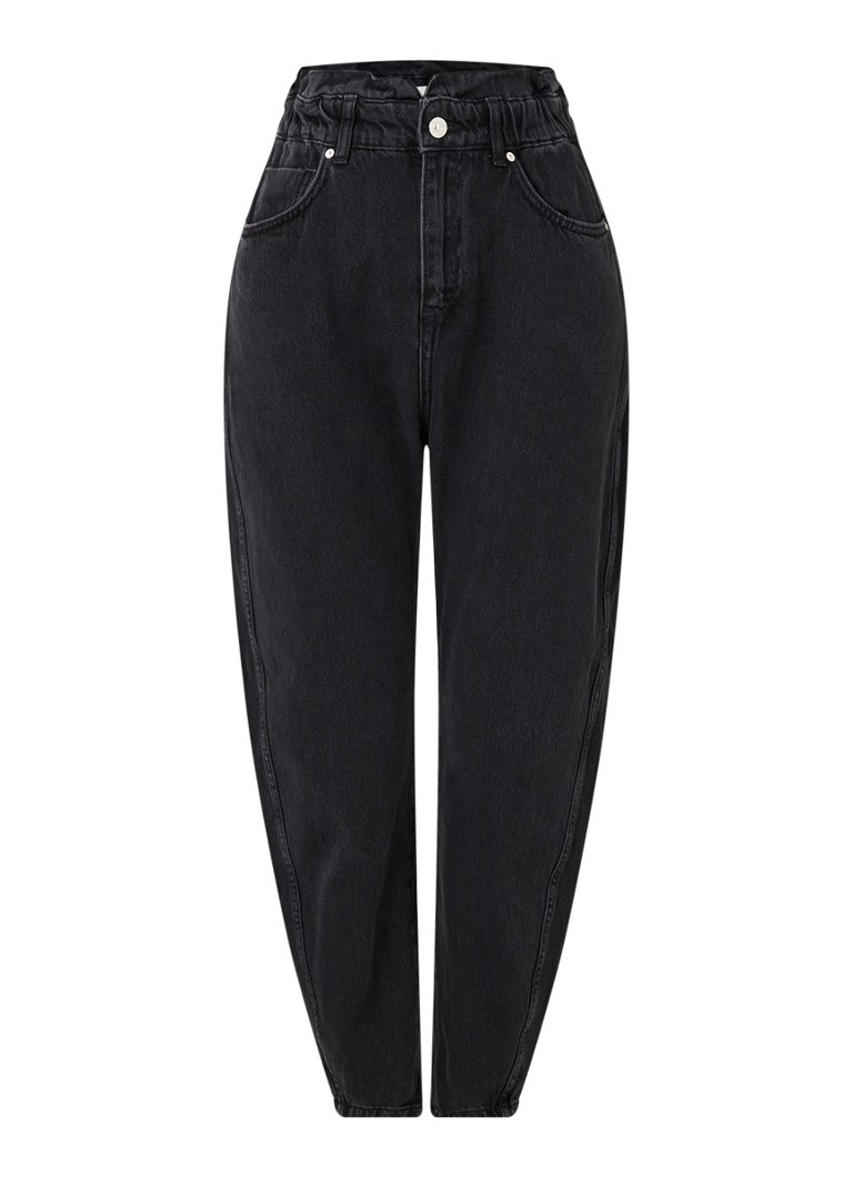MANGO - Slouchy high waist tapered fit cropped jeans - Donkergrijs