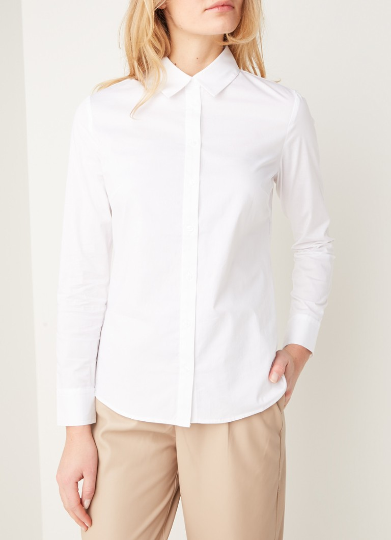 MANGO - Sofia slim fit blouse met stretch - Wit