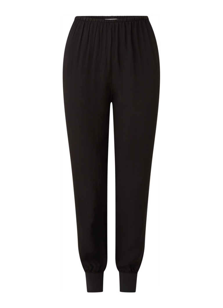 MANGO - Softy tapered fit cropped joggingbroek - Zwart