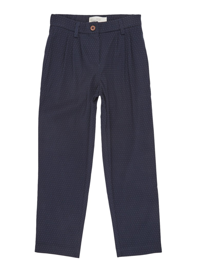 MANGO - Tapered fit pantalon met stippendessin - Royalblauw