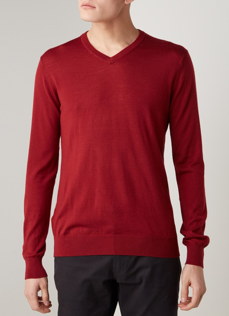 MANGO - Willy pullover van merinowol met V-hals - Bordeauxrood