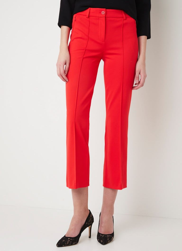 Marc Aurel - High waist flared fit cropped pantalon  - Vuurrood