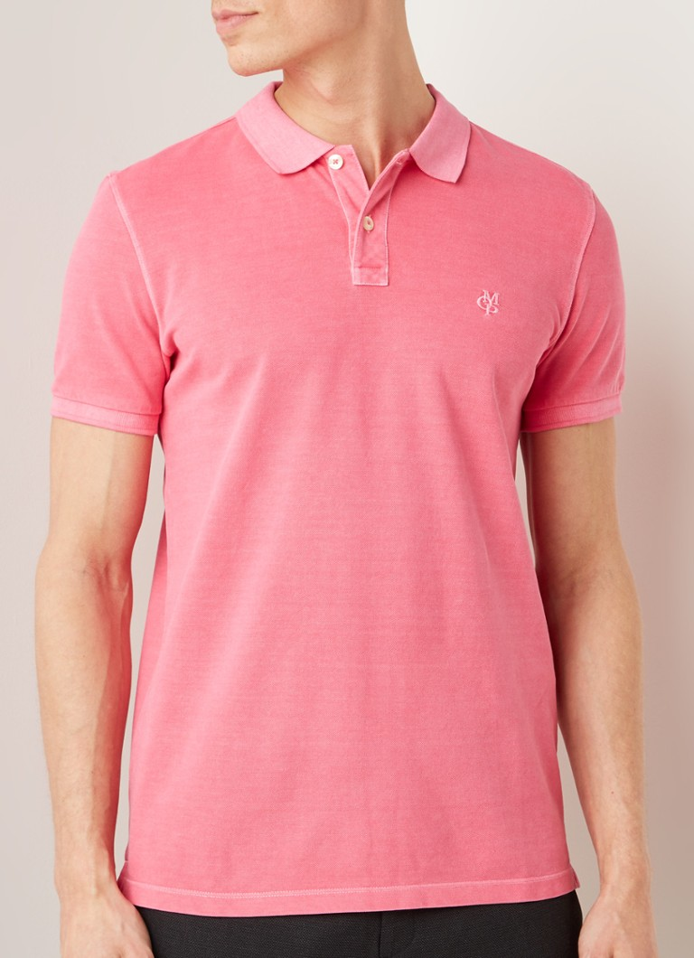Marc O'Polo - Basic regular fit polo met washed look - Fuchsia