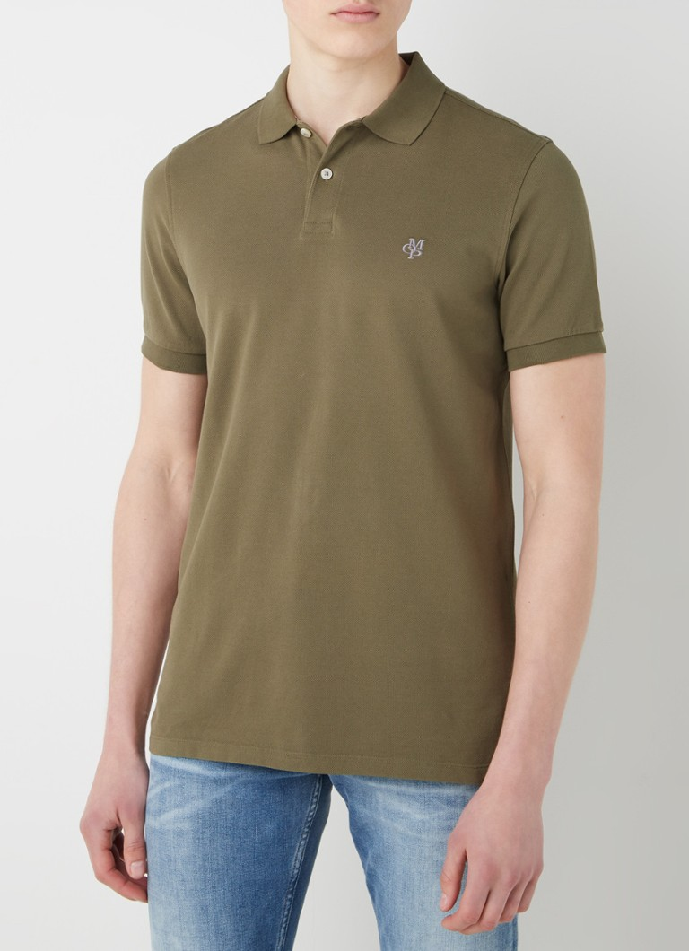 Marc O'Polo - Regular fit polo van piqué katoen - Khaki
