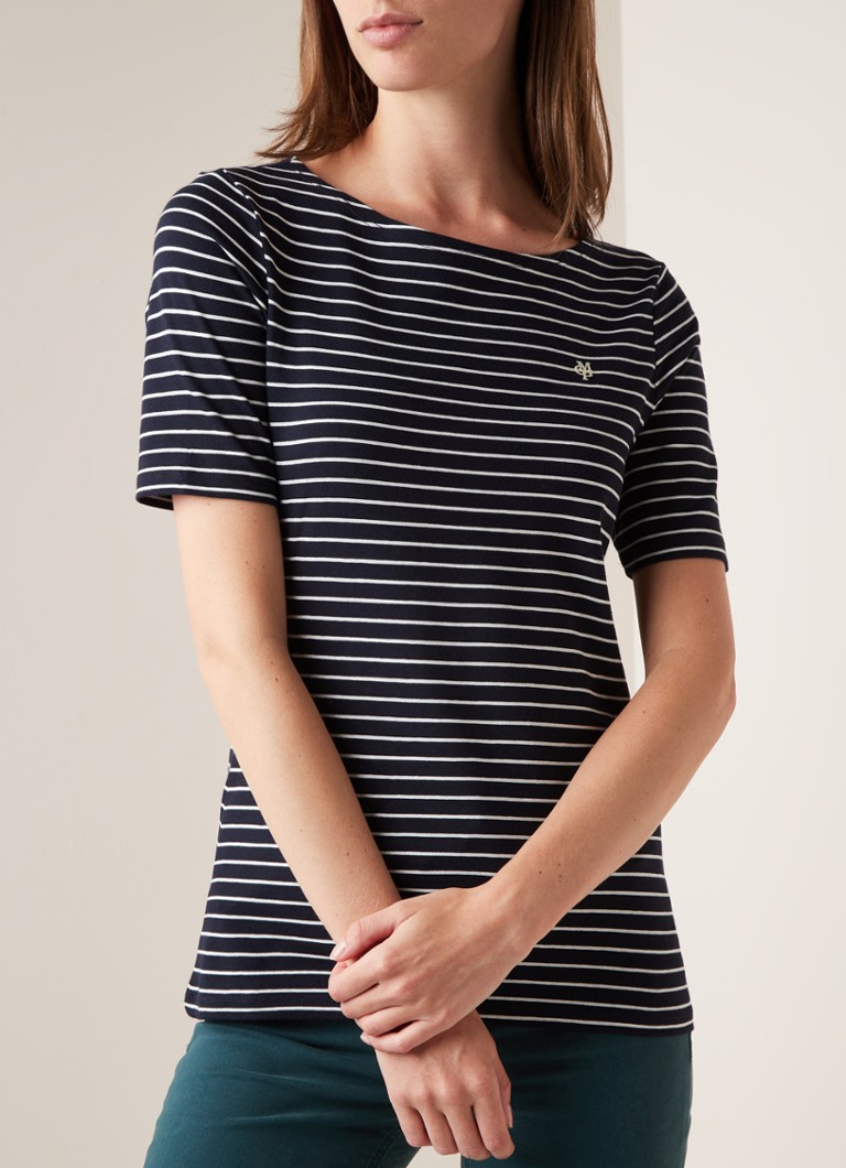 Marc O'Polo - T-shirt met streepdessin - Donkerblauw