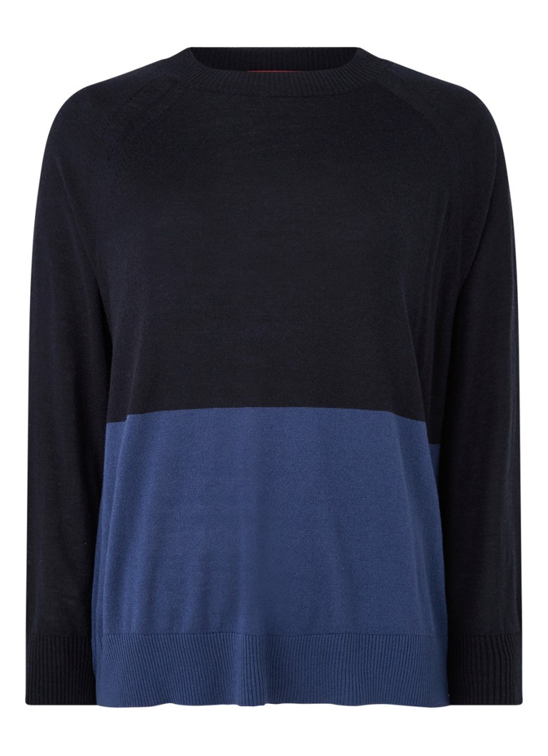MaxMara - Addobbo pullover in zijdeblend met colour blocking - Blauw