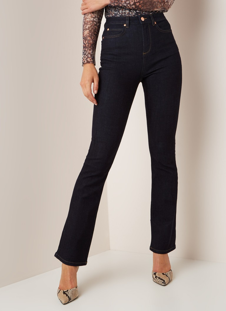 Mint Velvet - High waist straight fit jeans van ongewassen denim  - Indigo