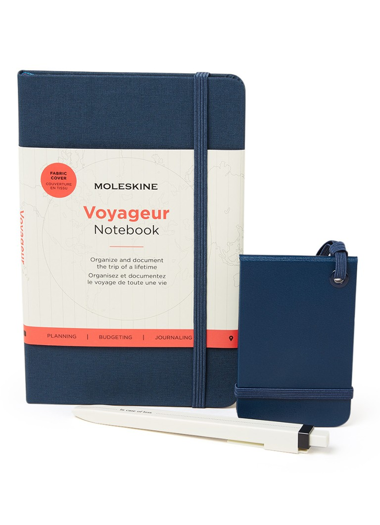 Moleskine - Travel Kit met Voyageur notitieboek, pen en bagagelabel in giftset  - Donkerblauw