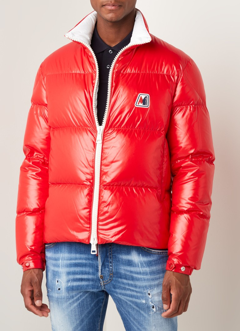 Moncler - Chartreuse puffer jas met donsvulling - Rood