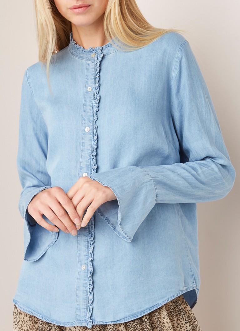 7e41bd8d5f8 Neo Noir Nomi blouse van chambray met ruches • de Bijenkorf