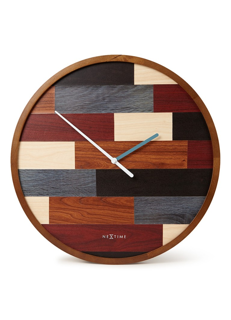 NeXtime - Patch Wood wandklok 45 cm - Multicolor