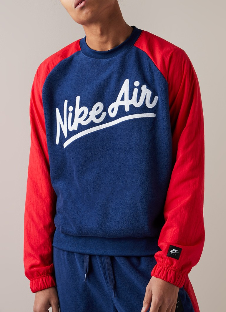 Nike - Air sweater van fleece met contrastmouw - Donkerblauw