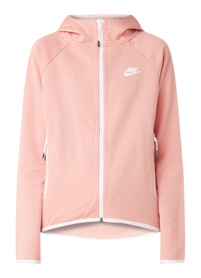 Nike - Windrunner Tech Fleece trainingsjack met contrastbies - Zalmroze