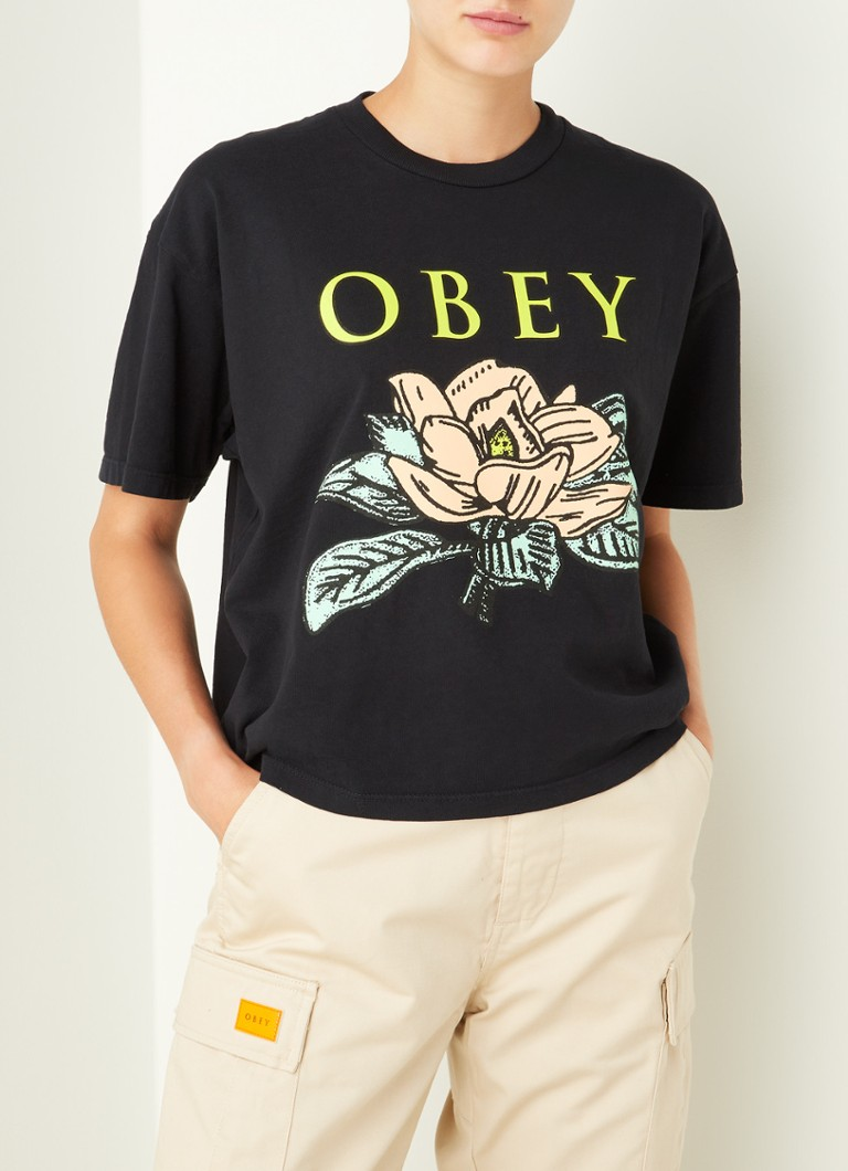 Obey - Lotus cropped T-shirt met frontprint - Zwart