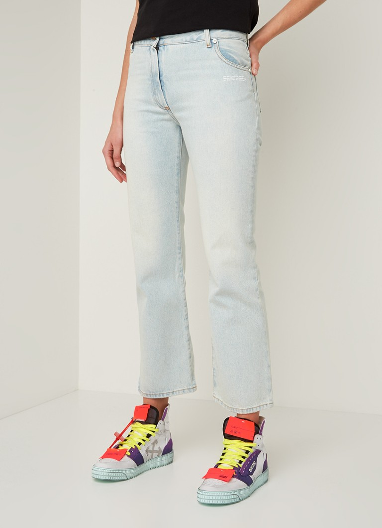 Off-White - High waist flared fit cropped jeans met lichte wassing - Indigo