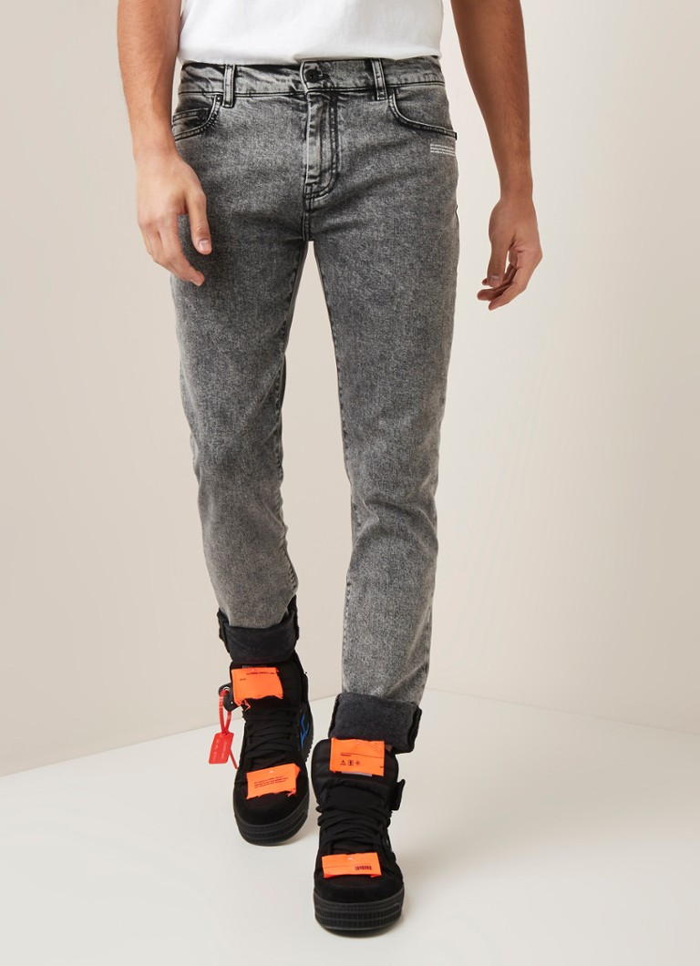 Off-White - Skinny fit jeans met backprint - Middengrijs