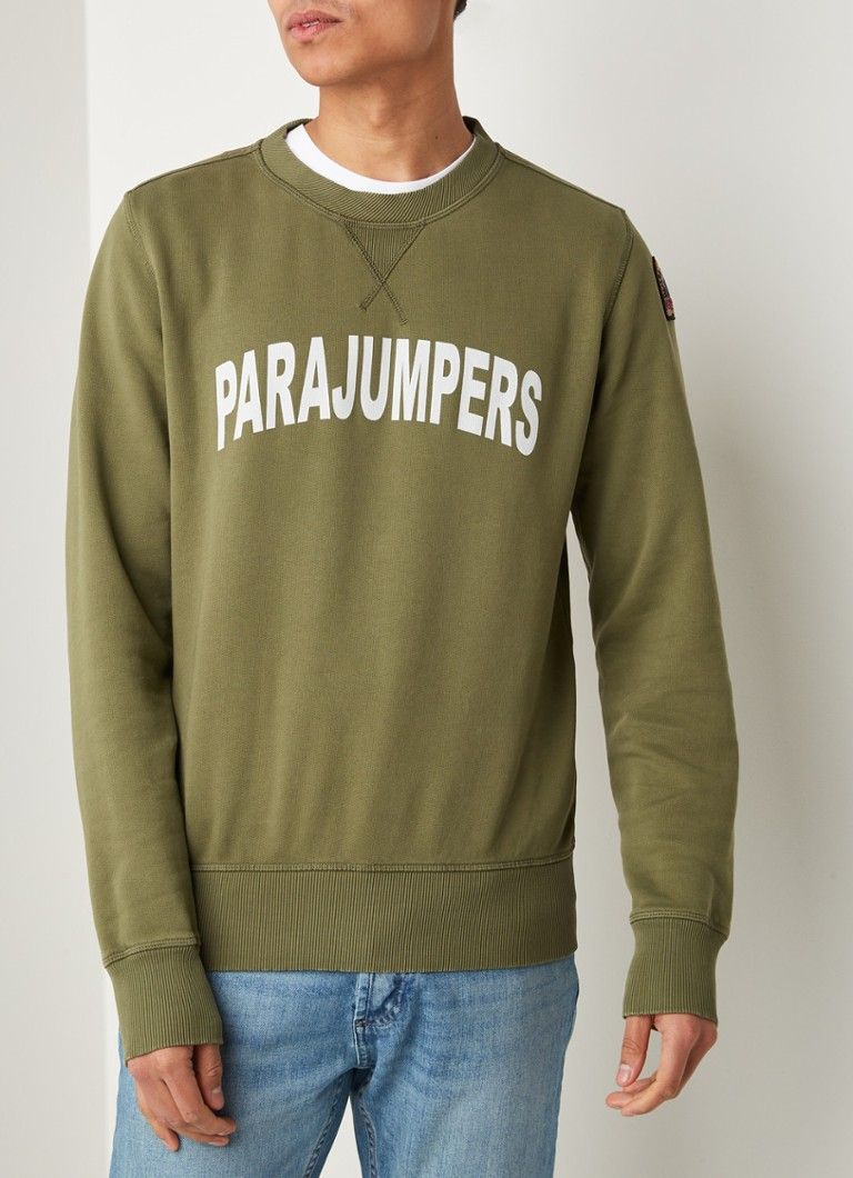 Parajumpers - Caleb sweater met logoprint - Legergroen