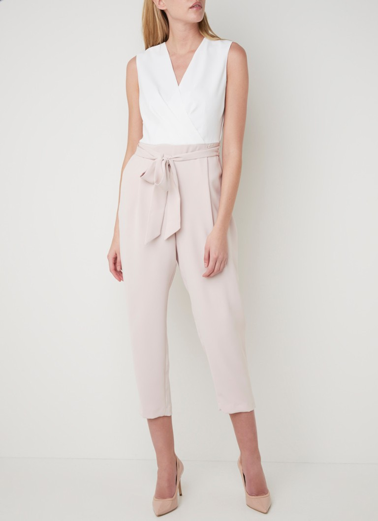 Phase Eight - Andie tapered fit cropped jumpsuit met strikceintuur - Oudroze