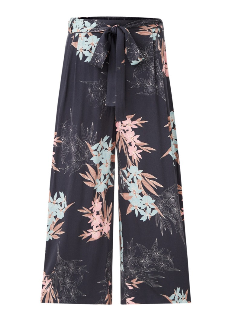 Phase Eight - Ashai high waist wide fit culotte met bloemenprint - Middenblauw