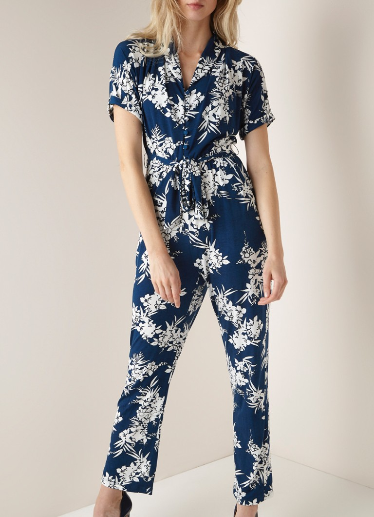 Phase Eight - Clancy straight fit jumpsuit met bloemendessin en ceintuur - Donkerblauw