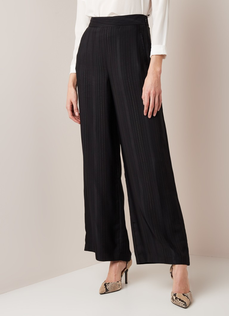 Phase Eight - Clea high waist wide fit pantalon met krijtstreep van lurex - Zwart