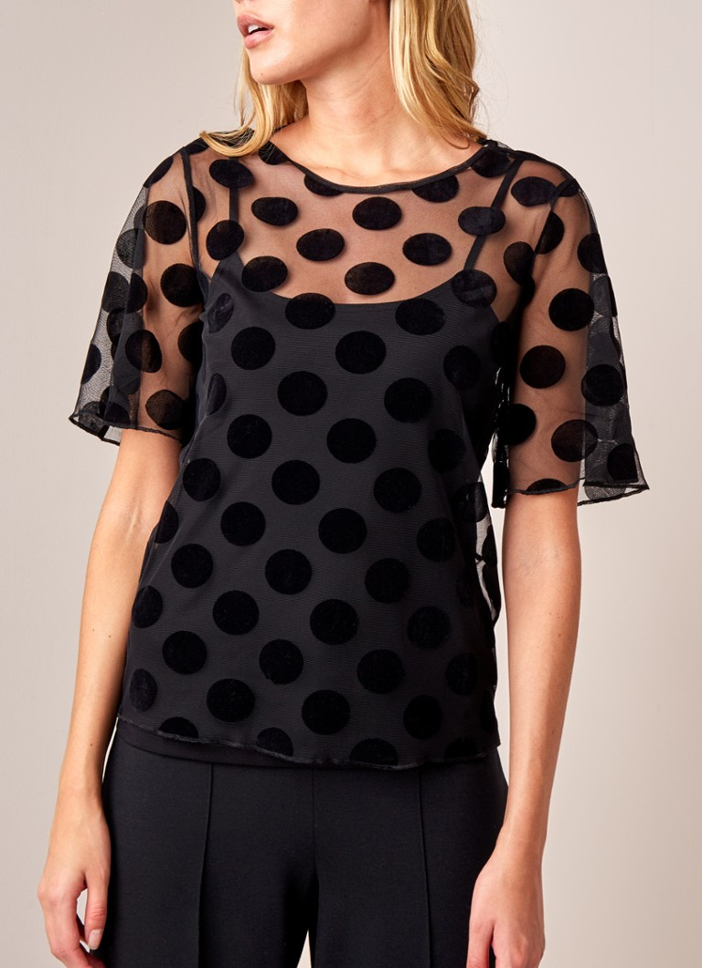 Phase Eight - Georgette top van mesh met stippendessin - Zwart