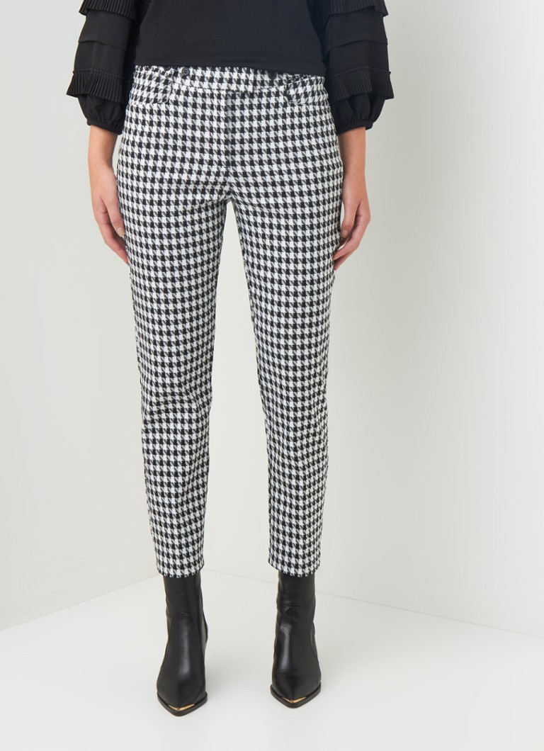 Phase Eight - Gigi high waist slim fit pantalon met pied-de-poule dessin - Zwart